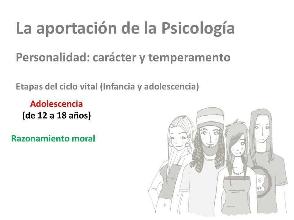La aportación de la Psicología Personalidad: carácter y temperamento Etapas del ciclo vital (Infancia y adolescencia) Adolescencia (de 12 a 18 años) Razonamiento moral