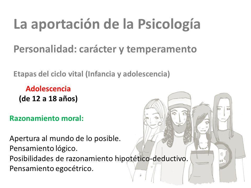 La aportación de la Psicología Personalidad: carácter y temperamento Etapas del ciclo vital (Infancia y adolescencia) Adolescencia (de 12 a 18 años) R