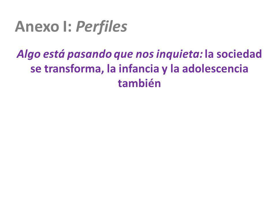 Anexo I: Perfiles Algo está pasando que nos inquieta: la sociedad se transforma, la infancia y la adolescencia también