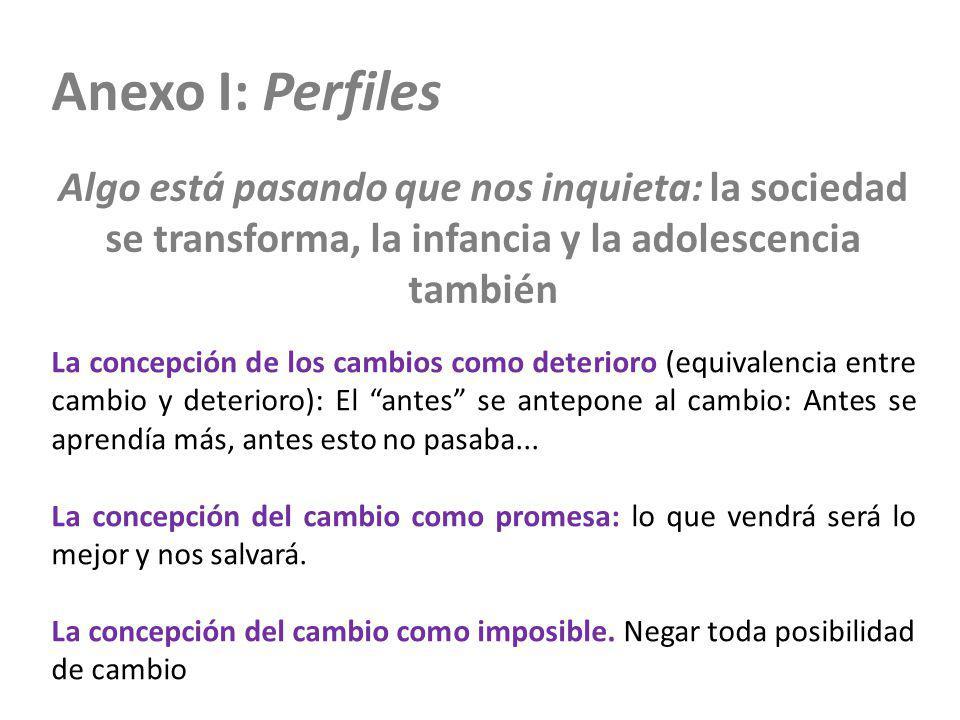 Anexo I: Perfiles Algo está pasando que nos inquieta: la sociedad se transforma, la infancia y la adolescencia también La concepción de los cambios co