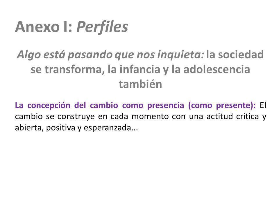 Anexo I: Perfiles Algo está pasando que nos inquieta: la sociedad se transforma, la infancia y la adolescencia también La concepción del cambio como p