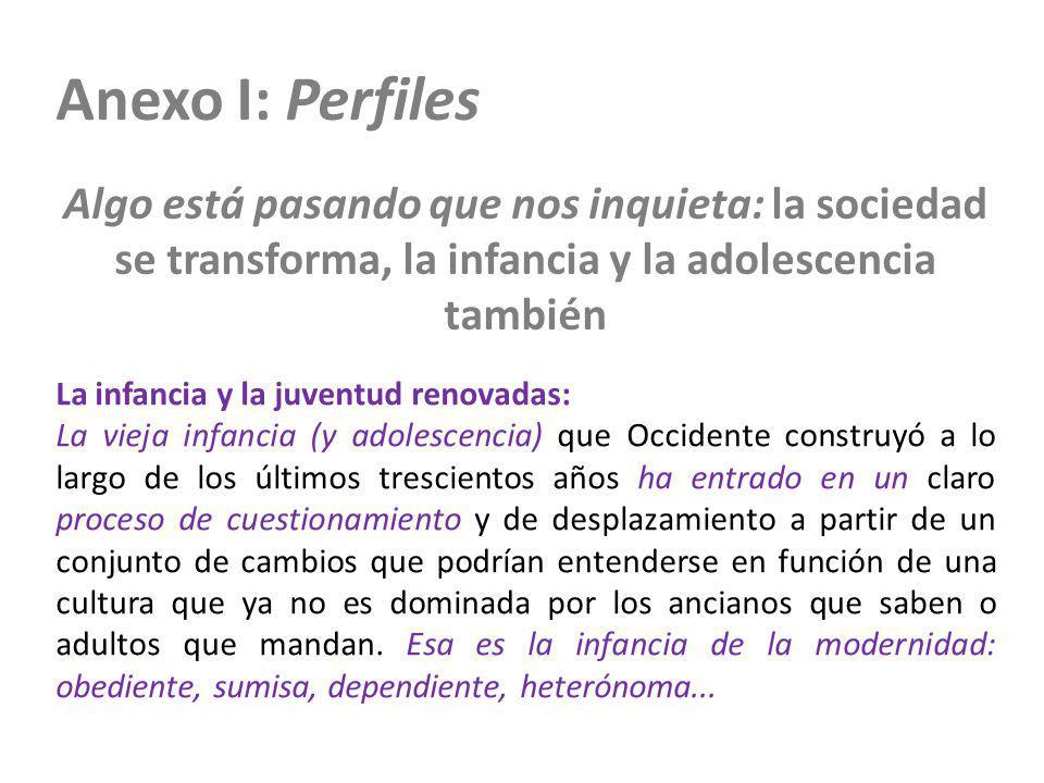 Anexo I: Perfiles Algo está pasando que nos inquieta: la sociedad se transforma, la infancia y la adolescencia también La infancia y la juventud renov
