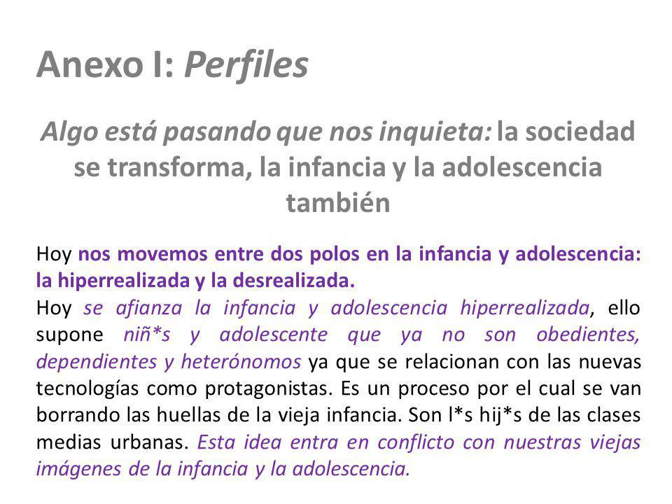 Anexo I: Perfiles Algo está pasando que nos inquieta: la sociedad se transforma, la infancia y la adolescencia también Hoy nos movemos entre dos polos
