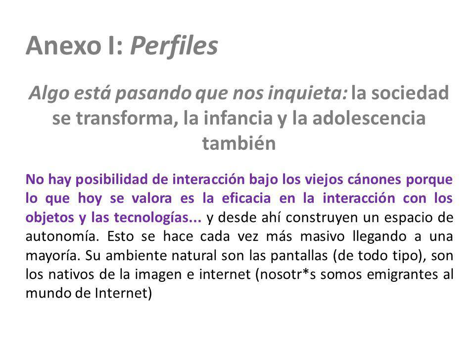 Anexo I: Perfiles Algo está pasando que nos inquieta: la sociedad se transforma, la infancia y la adolescencia también No hay posibilidad de interacci