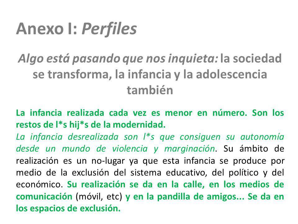 Anexo I: Perfiles Algo está pasando que nos inquieta: la sociedad se transforma, la infancia y la adolescencia también La infancia realizada cada vez