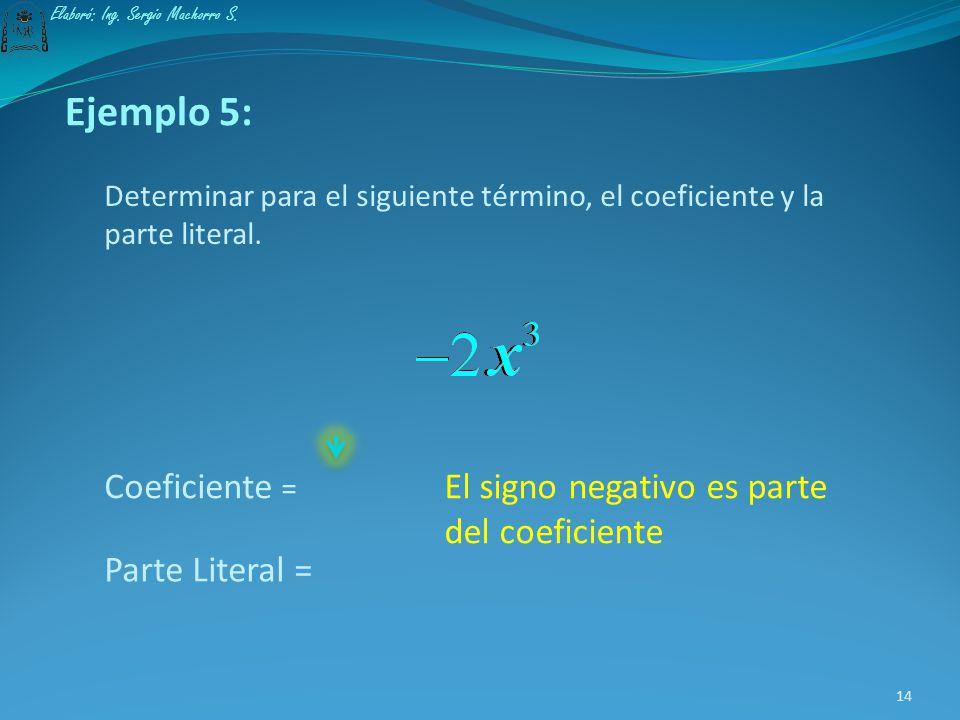 Parte literal de un término: La parte literal de un término la constituyen las variables con sus respectivos exponentes. 13 Elaboró: Ing. Sergio Macho
