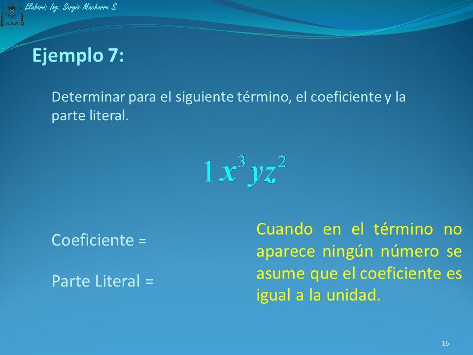 Ejemplo 6: Determinar para el siguiente término, el coeficiente y la parte literal. Coeficiente = Parte Literal = Cuando el coeficiente es positivo y