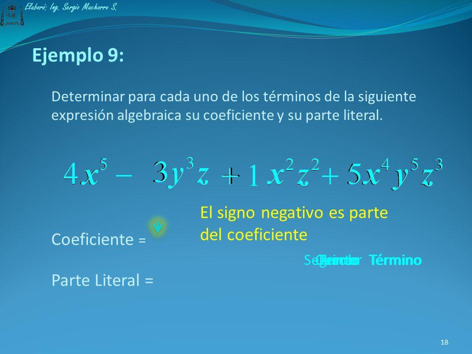 Ejemplo 8: Determinar para el siguiente término, el coeficiente y la parte literal. Coeficiente = Parte Literal = 17 Elaboró: Ing. Sergio Machorro S.