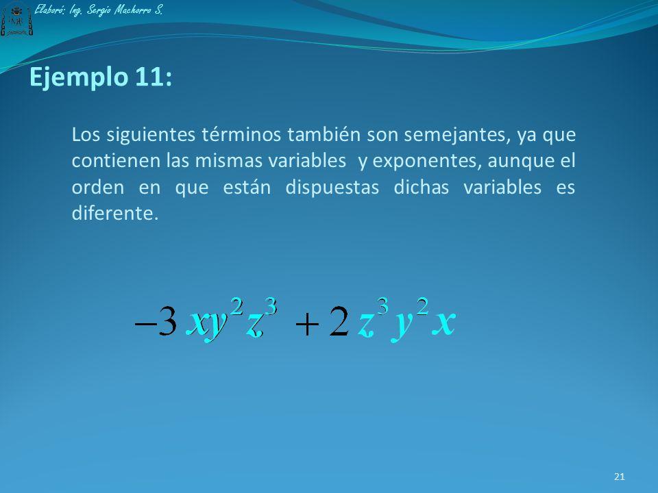 Ejemplo 10: Los términos que se muestran enseguida son semejantes, ya que contienen las mismas variables y exponentes. 20 Elaboró: Ing. Sergio Machorr