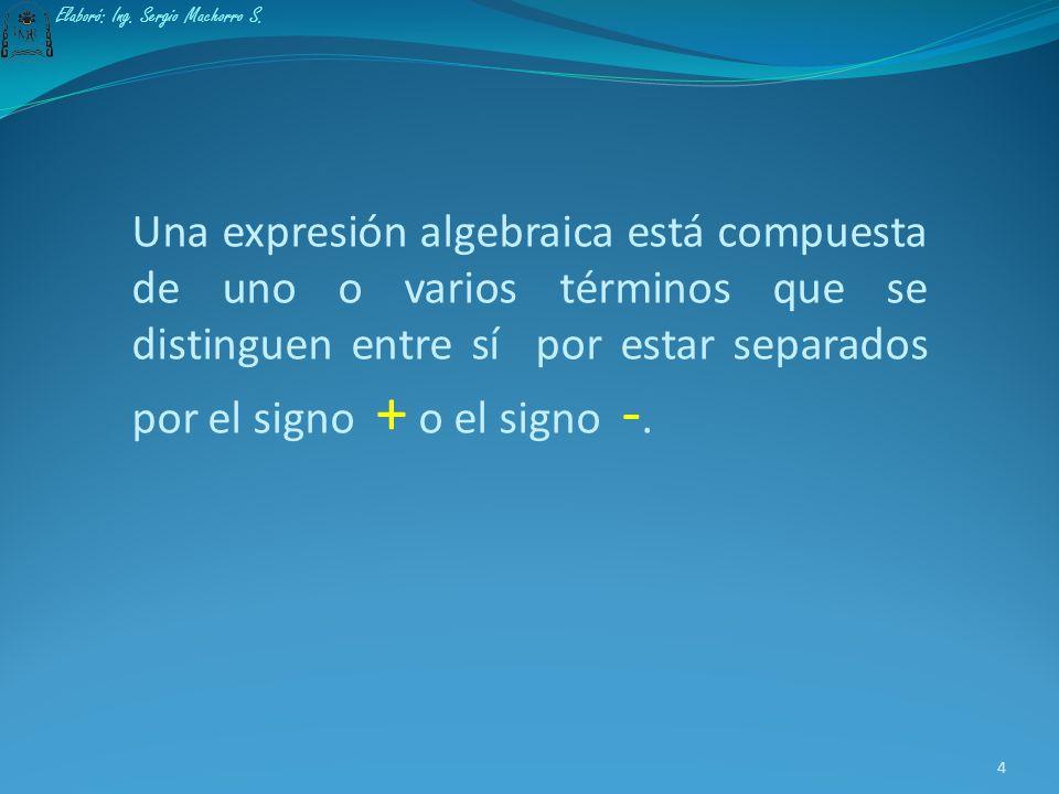 Expresión algebraica Una expresión algebraica es aquella que contiene números, letras y símbolos relacionados entre sí mediante las operaciones fundam