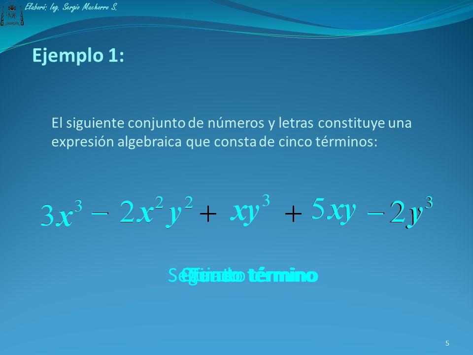 Una expresión algebraica está compuesta de uno o varios términos que se distinguen entre sí por estar separados por el signo + o el signo -. 4 Elaboró