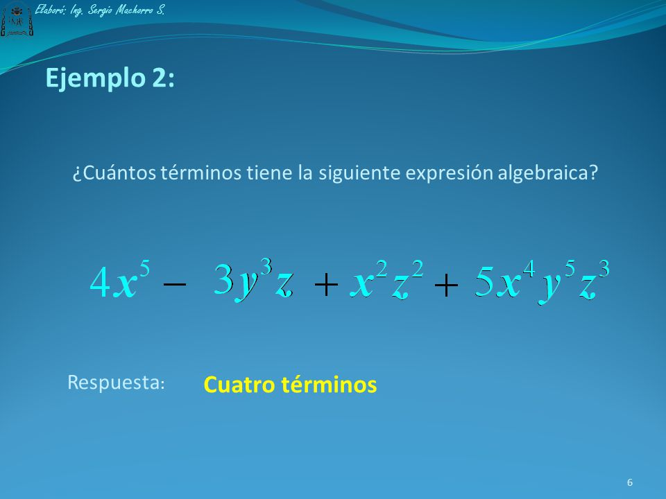 Ejemplo 1: El siguiente conjunto de números y letras constituye una expresión algebraica que consta de cinco términos: Primer términoSegundo término T