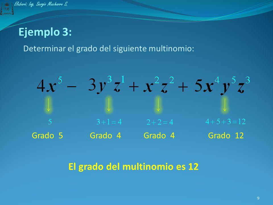 El grado de un multinomio queda definido por la mayor suma de los exponentes de las variables en la parte literal de cada término. 8 Elaboró: Ing. Ser