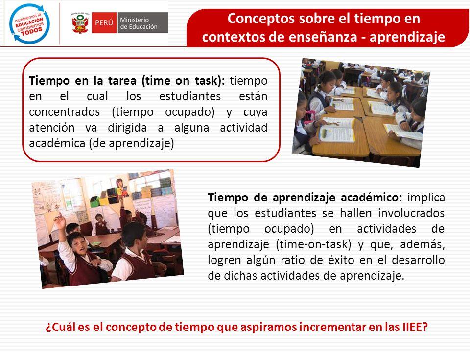 Conceptos sobre el tiempo en contextos de enseñanza - aprendizaje Tiempo en la tarea (time on task): tiempo en el cual los estudiantes están concentra
