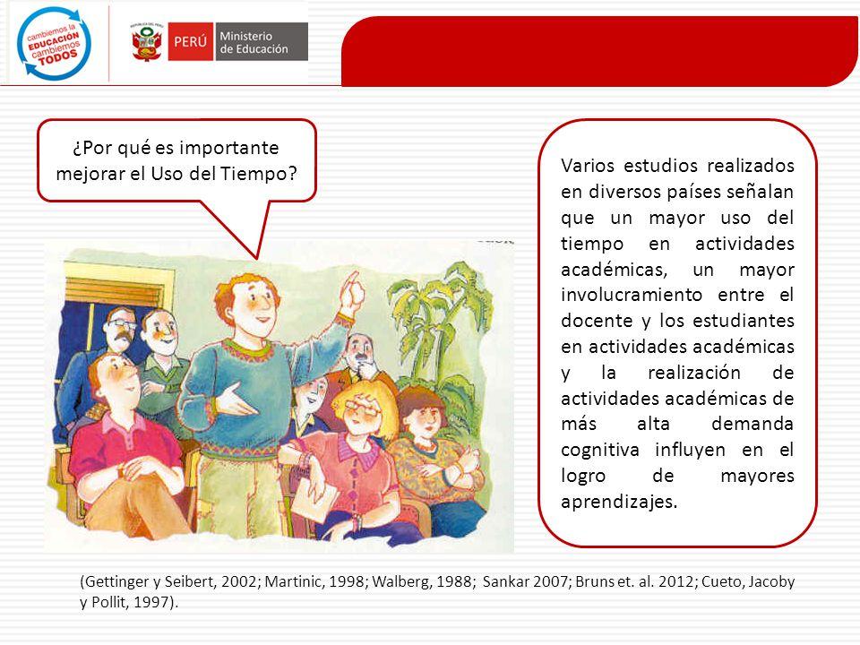(Gettinger y Seibert, 2002; Martinic, 1998; Walberg, 1988; Sankar 2007; Bruns et. al. 2012; Cueto, Jacoby y Pollit, 1997). ¿Por qué es importante mejo