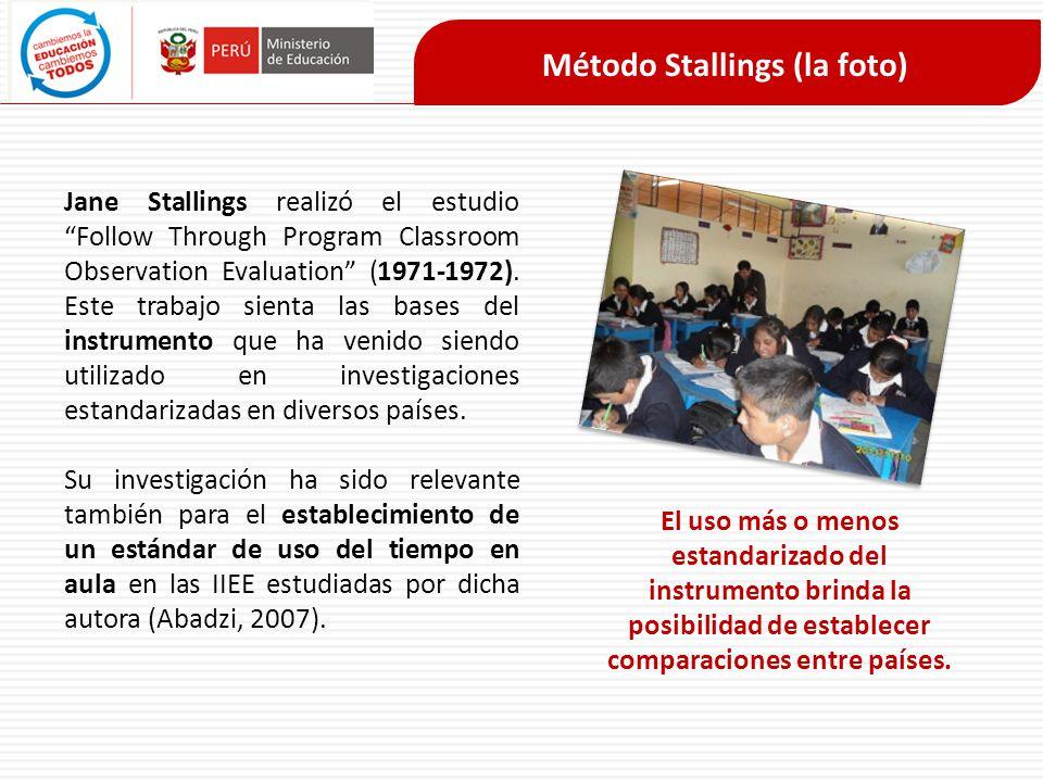 Método Stallings (la foto) Jane Stallings realizó el estudio Follow Through Program Classroom Observation Evaluation (1971-1972). Este trabajo sienta
