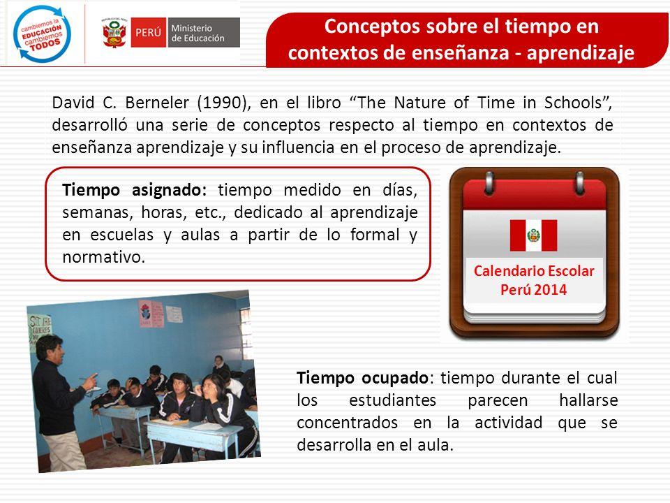 Conceptos sobre el tiempo en contextos de enseñanza - aprendizaje Tiempo en la tarea (time on task): tiempo en el cual los estudiantes están concentrados (tiempo ocupado) y cuya atención va dirigida a alguna actividad académica (de aprendizaje) Tiempo de aprendizaje académico: implica que los estudiantes se hallen involucrados (tiempo ocupado) en actividades de aprendizaje (time-on-task) y que, además, logren algún ratio de éxito en el desarrollo de dichas actividades de aprendizaje.