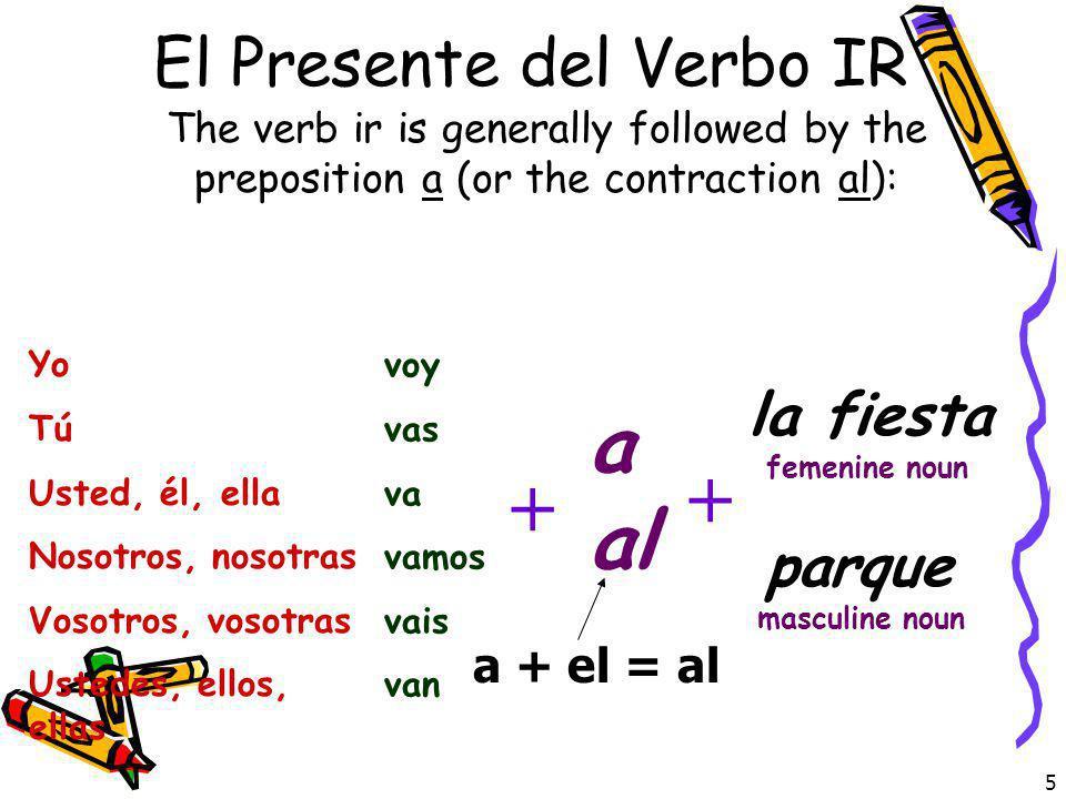 4 El Presente del Verbo IR: (irregular in the present tense) Yo Tú Usted, él, ella Nosotros, nosotras Vosotros, vosotras Ustedes, ellos, ellas voy vas va vamos váis van