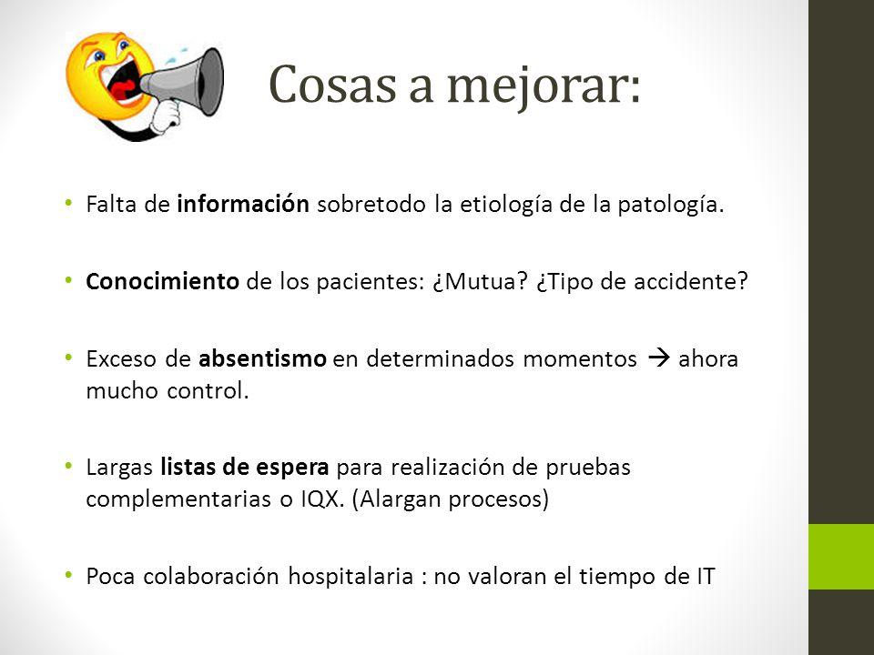 Cosas a mejorar: Falta de información sobretodo la etiología de la patología.