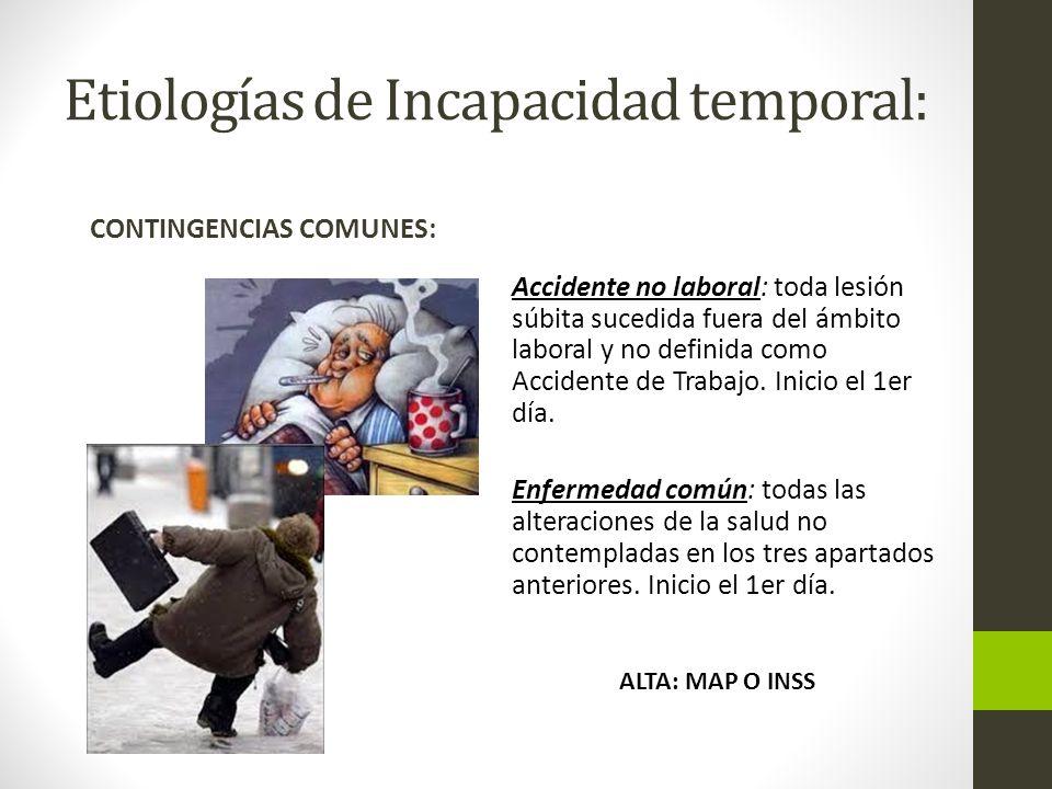 Etiologías de Incapacidad temporal: CONTINGENCIAS COMUNES: Accidente no laboral: toda lesión súbita sucedida fuera del ámbito laboral y no definida como Accidente de Trabajo.