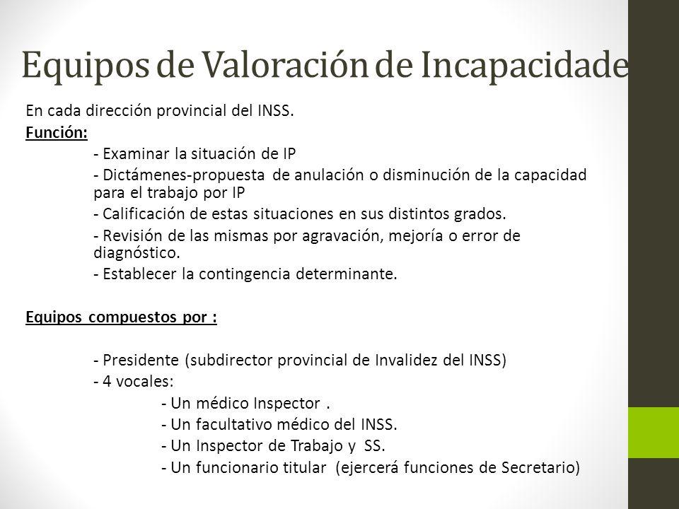 Equipos de Valoración de Incapacidades: En cada dirección provincial del INSS.