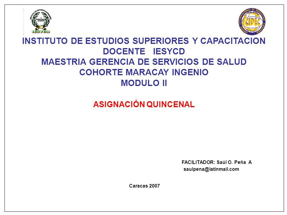 INSTITUTO DE ESTUDIOS SUPERIORES Y CAPACITACION DOCENTE IESYCD MAESTRIA GERENCIA DE SERVICIOS DE SALUD COHORTE MARACAY INGENIO MODULO II ASIGNACIÓN QUINCENAL FACILITADOR: Saúl O.