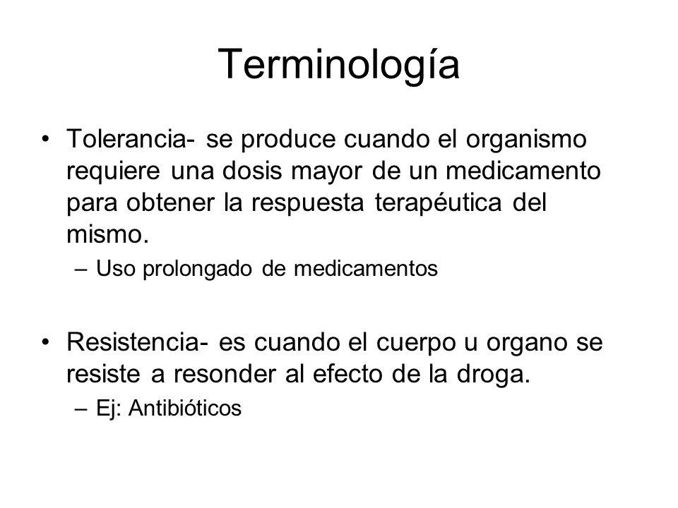 Terminología Tolerancia- se produce cuando el organismo requiere una dosis mayor de un medicamento para obtener la respuesta terapéutica del mismo. –U