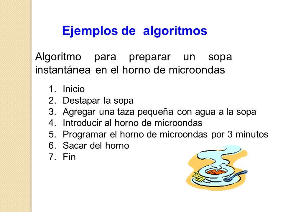 Ejemplos de algoritmos 1.Inicio 2.Destapar la sopa 3.Agregar una taza pequeña con agua a la sopa 4.Introducir al horno de microondas 5.Programar el ho
