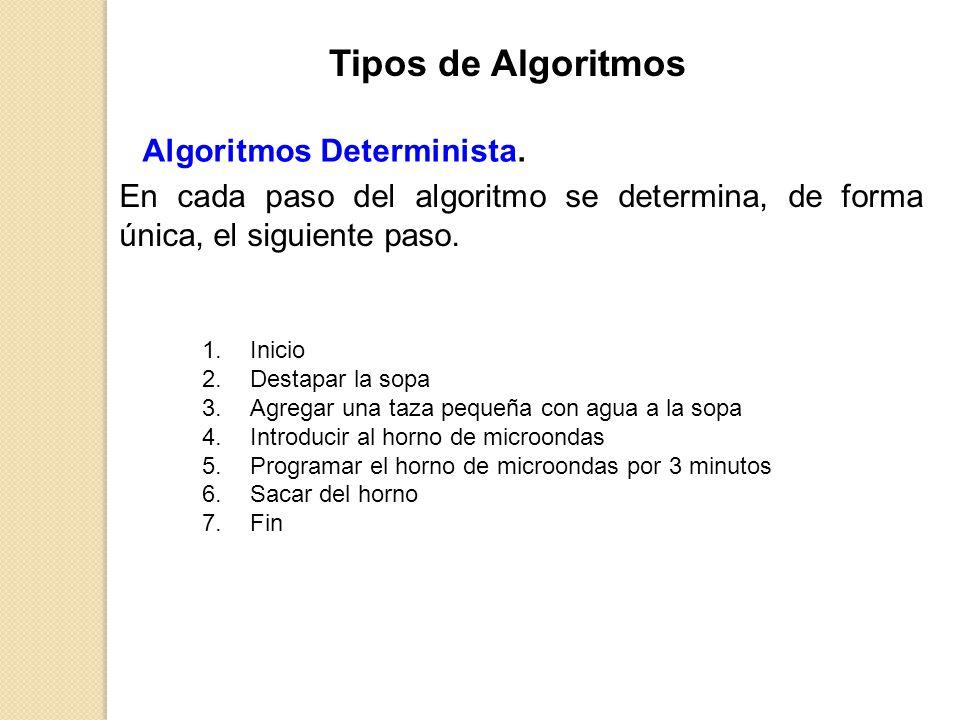 Algoritmos Determinista. En cada paso del algoritmo se determina, de forma única, el siguiente paso. 1.Inicio 2.Destapar la sopa 3.Agregar una taza pe