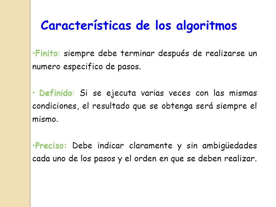 Características de los algoritmos Finito: siempre debe terminar después de realizarse un numero especifico de pasos. Definido: Si se ejecuta varias ve