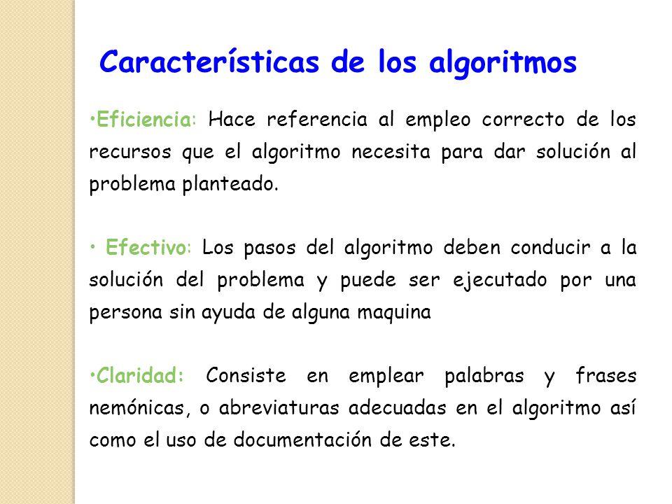Eficiencia: Hace referencia al empleo correcto de los recursos que el algoritmo necesita para dar solución al problema planteado. Efectivo: Los pasos