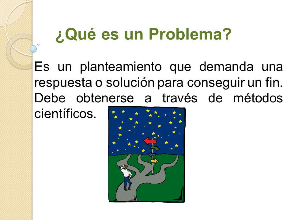 ¿Qué es un Problema? Es un planteamiento que demanda una respuesta o solución para conseguir un fin. Debe obtenerse a través de métodos científicos.