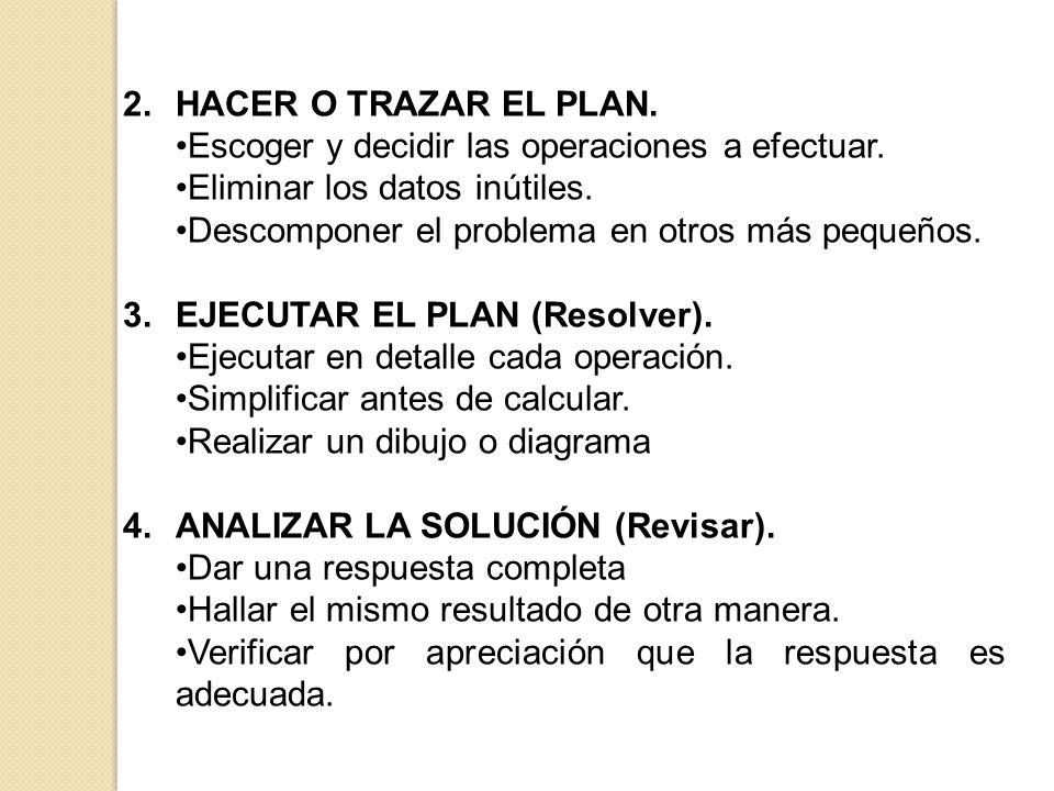 2.HACER O TRAZAR EL PLAN. Escoger y decidir las operaciones a efectuar. Eliminar los datos inútiles. Descomponer el problema en otros más pequeños. 3.