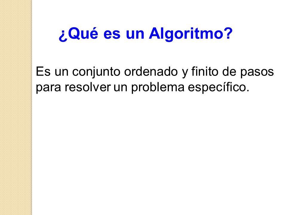 ¿Qué es un Algoritmo? Es un conjunto ordenado y finito de pasos para resolver un problema específico.