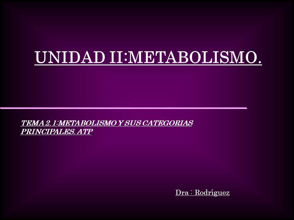 UNIDAD II:METABOLISMO. TEMA 2.1:METABOLISMO Y SUS CATEGORIAS PRINCIPALES. ATP. Dra : Rodríguez