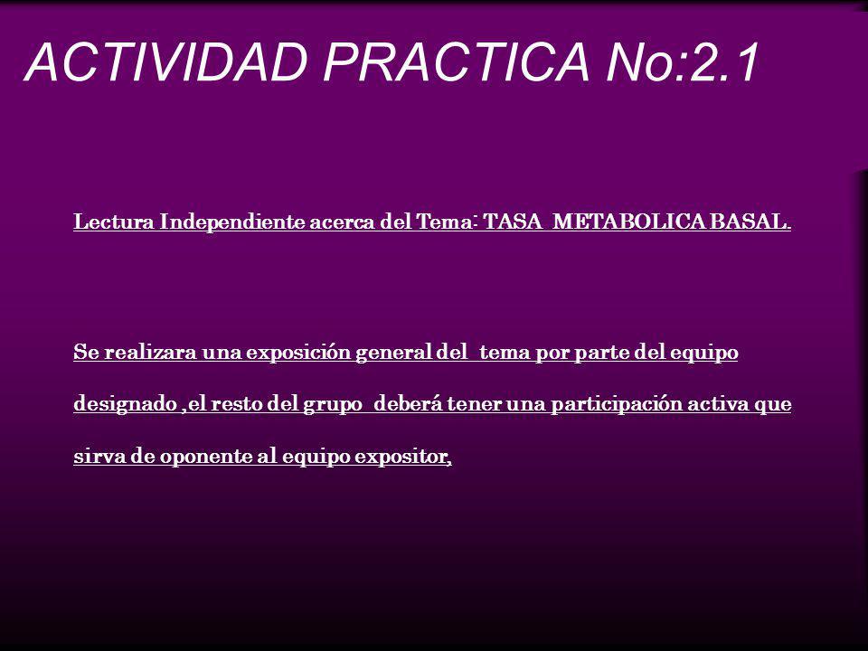 ACTIVIDAD PRACTICA No:2.1 Lectura Independiente acerca del Tema: TASA METABOLICA BASAL. Se realizara una exposición general del tema por parte del equ