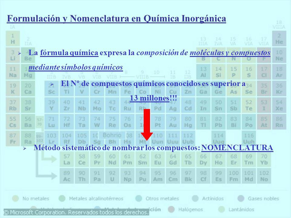 La fórmula química expresa la composición de moléculas y compuestos mediante símbolos químicos El Nº de compuestos químicos conocidos es superior a 13