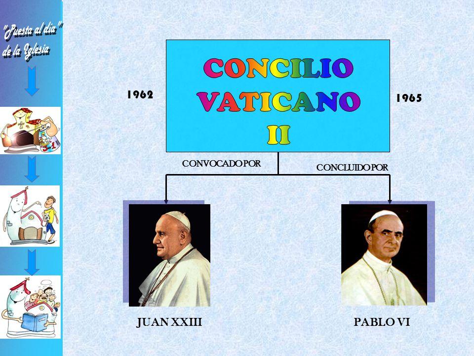 CONVOCADO POR JUAN XXIII CONCLUIDO POR 1962 1965 PABLO VI