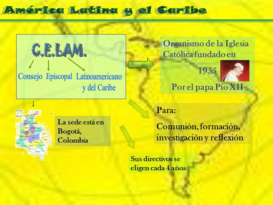Organismo de la Iglesia Católica fundado en 1955 Por el papa Pío XII La sede está en Bogotá, Colombia Para: Comunión, formación, investigación y reflexión Sus directivos se eligen cada 4 años