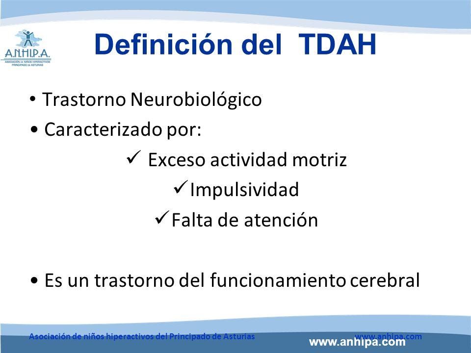 www.anhipa.com Asociación de niños hiperactivos del Principado de Asturiaswww.anhipa.com Definición del TDAH Síntomas antes de los 12 años y duran más de seis meses Síntomas no se deben a otro problema psíquico ni físico.