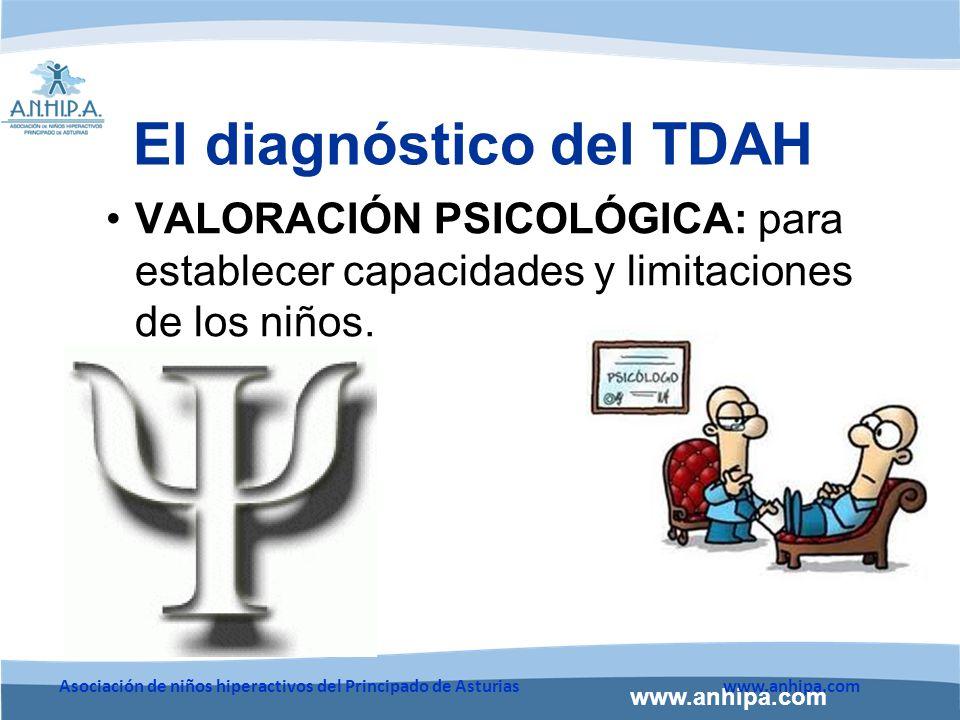 www.anhipa.com Asociación de niños hiperactivos del Principado de Asturiaswww.anhipa.com El diagnóstico del TDAH VALORACIÓN PSICOLÓGICA: para establecer capacidades y limitaciones de los niños.