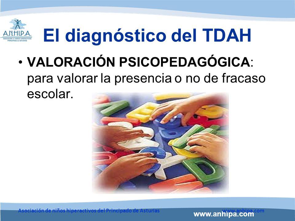 www.anhipa.com Asociación de niños hiperactivos del Principado de Asturiaswww.anhipa.com VALORACIÓN PSICOPEDAGÓGICA: para valorar la presencia o no de fracaso escolar.