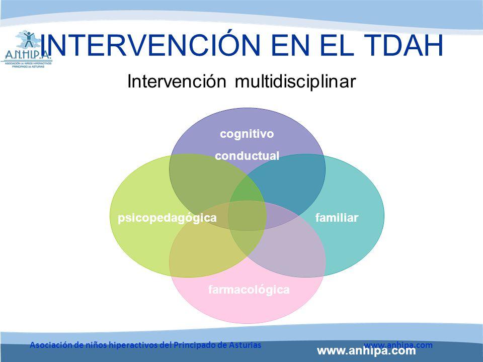www.anhipa.com Asociación de niños hiperactivos del Principado de Asturiaswww.anhipa.com INTERVENCIÓN EN EL TDAH Intervención multidisciplinar cognitivo conductual familiarpsicopedagógica farmacológica