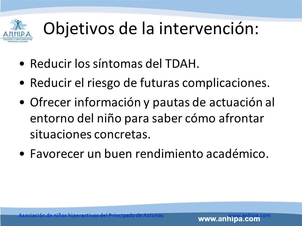 www.anhipa.com Asociación de niños hiperactivos del Principado de Asturiaswww.anhipa.com Objetivos de la intervención: Reducir los síntomas del TDAH.