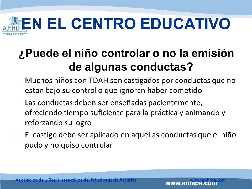 www.anhipa.com Asociación de niños hiperactivos del Principado de Asturiaswww.anhipa.com EN EL CENTRO EDUCATIVO ¿Puede el niño controlar o no la emisión de algunas conductas.