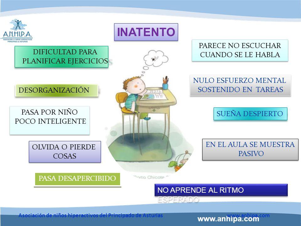 www.anhipa.com Asociación de niños hiperactivos del Principado de Asturiaswww.anhipa.com CONTROLAR EL TIEMPO DEDICADO A LAS ACTIVIDADES Fragmentar la actividad en partes cortas, supervisando el tiempo que dedica a cada una.