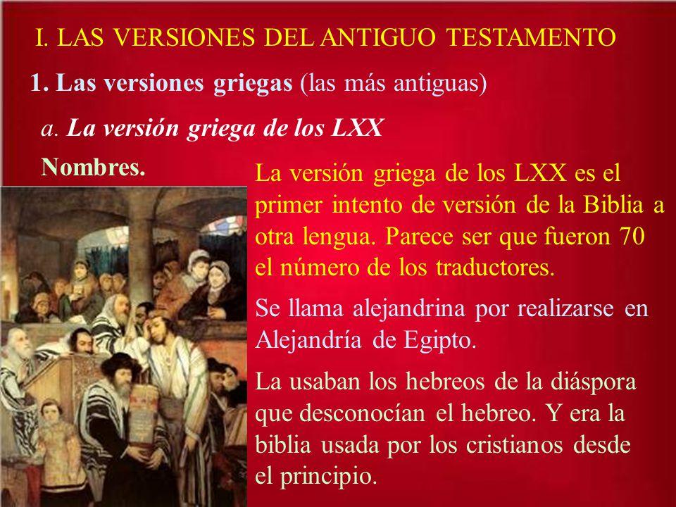 I. LAS VERSIONES DEL ANTIGUO TESTAMENTO 1. Las versiones griegas (las más antiguas) a. La versión griega de los LXX Nombres. La versión griega de los