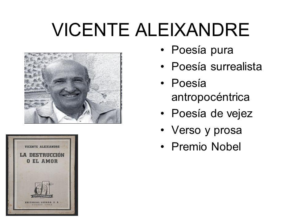 VICENTE ALEIXANDRE Poesía pura Poesía surrealista Poesía antropocéntrica Poesía de vejez Verso y prosa Premio Nobel