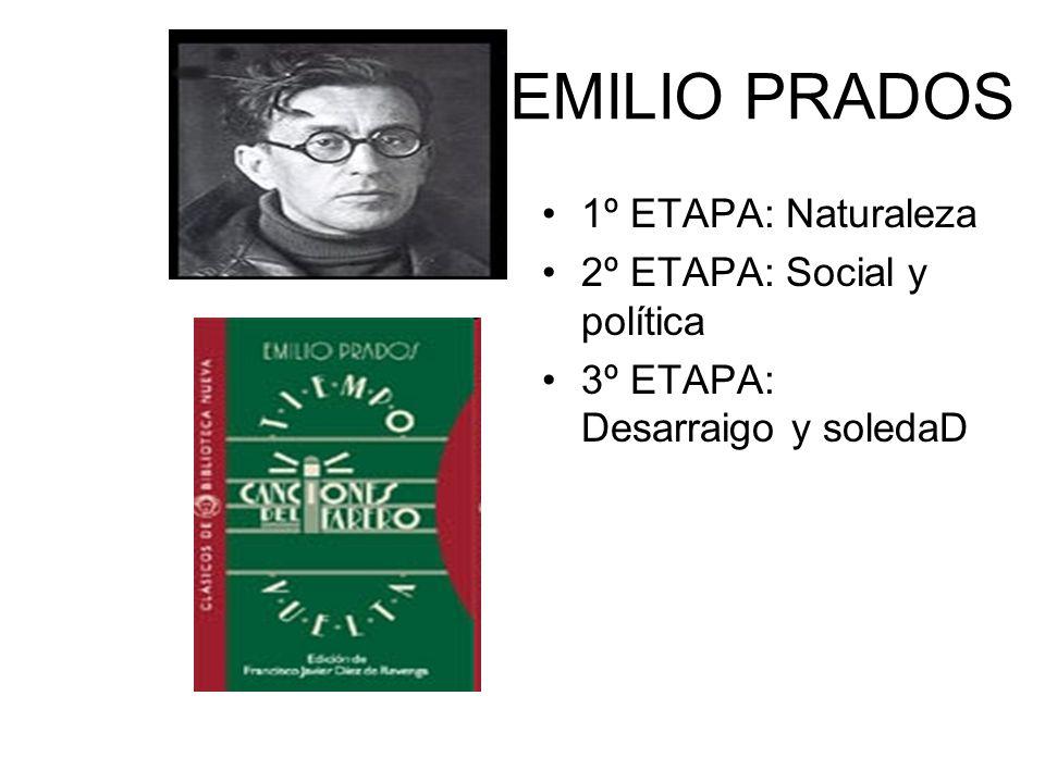 EMILIO PRADOS 1º ETAPA: Naturaleza 2º ETAPA: Social y política 3º ETAPA: Desarraigo y soledaD