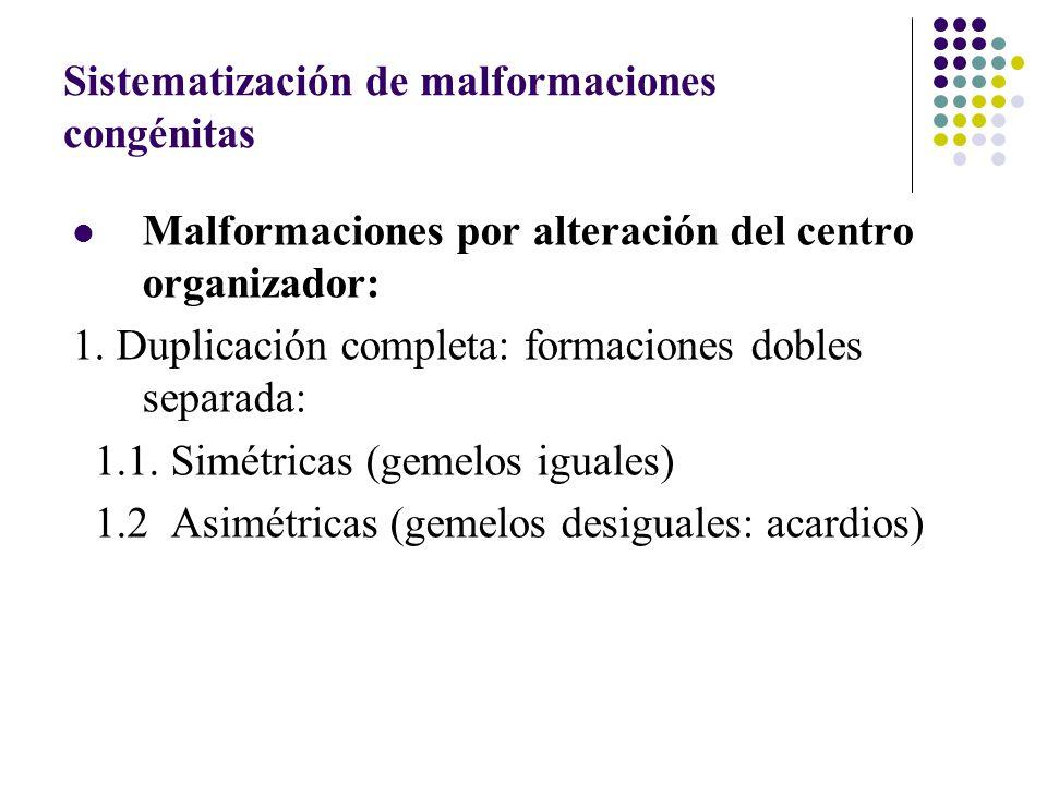 Sistematización de malformaciones congénitas Malformaciones por alteración del centro organizador: 1.